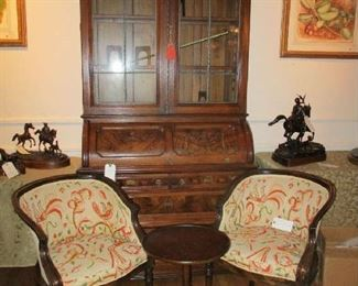 Eastlake Secretary with cylinder roll-top, pr Louis XV style Side Chairs