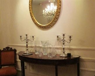 English style Inlay Console Table, Oval Miror, Silver Plate Candelabra, Baccarat Vases