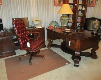 Mahogany Empire Revival style Executive Desk, Leather Desk Chair