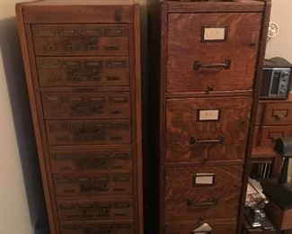 Vintage wood filing drawers