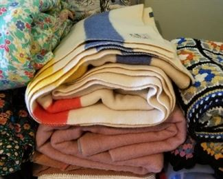 Wool blankets , afghans, quilts, chenille - tons of bedding