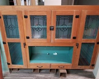 Antique cabinet - etched glass