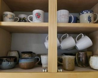 Big assortment of hand made pottery coffee cups mugs