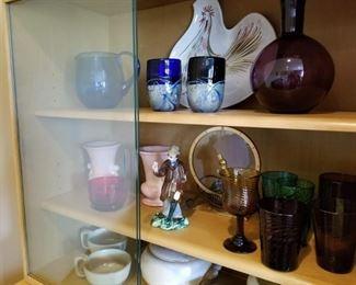 Assortment of Blenko art glass and Frankoma set
