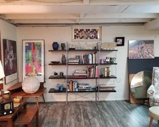 Fantastic bookshelf and wood corner table