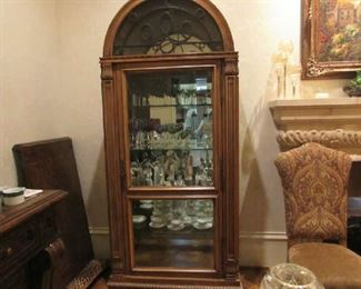 1 of 2 lighted china cabinets