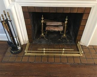 Brass fireplace accessories - really lovely