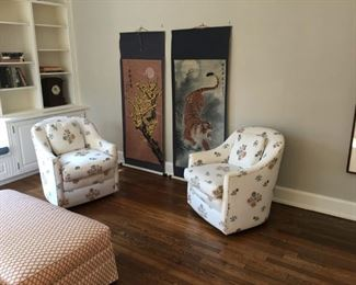 Pair of rolling armchairs; hassock; two long chinese scrolls; hassock