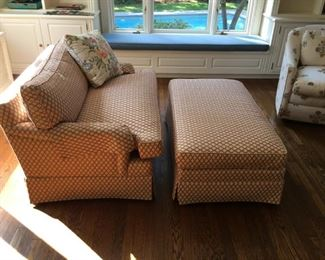 small tailored sofa and matching hasssock