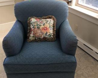 blue comfy armchair