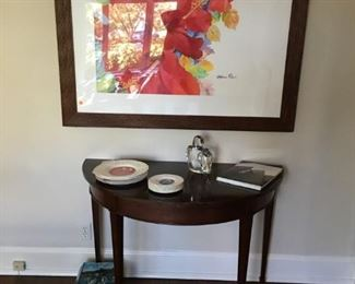 Large watercolor of hibiscus; table; Orrefors bird