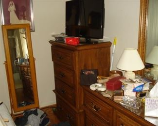 Dressing mirror, sewing stand. Tall dresser of a five-piece suite.