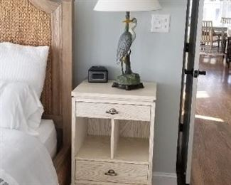 Stanley nightstand; set of two bird table lamps