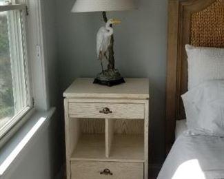 Stanley nightstand; set of two bird lamps