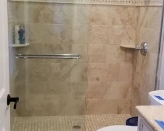 Several glass shower doors available