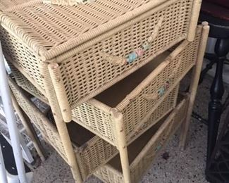 WICKER TIERED NESTING TABLES