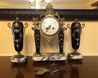 Antique French Mantle Clock Garniture set