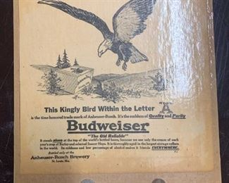 Old Budweiser Ad with Period Coins