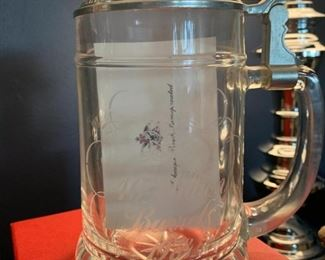 Anheuser Busch Commemorative Glass Stein. 40 Million Barrels Circa 1978. With Denny Long Note
