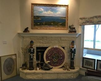 """Commissioned William A. Slaughter """"Home on Lake Travis"""" Oil Painting, Gorgeous Needlepoint """"Christmas Window"""", """"Grizzly"""" Sculpture by Daniel Parker, """"Dark Canyon Rogue"""" Sculpture by Bradford Williams"""