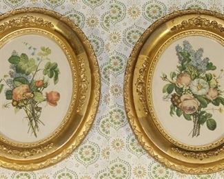 "Vintage Gold Leaf oval framed floral prints 12"" x 14"""