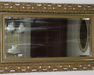 "Antique ornate 7"" depth Gold Gilt Framed beveled Mirror 52"" x 30"""