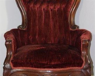 Pelham, Shell and Leckie Victorian  Style Carved Wood Frame Gentleman's Chair with Burgundy rolled and tufted velvet upholstery