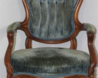 Victorian Carved Wood Frame Gentleman's Chair Blue rolled and tufted velvet upholstery