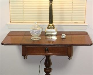 Imperial Furniture Grand Rapids, Michigan Mahogany Pedestal Base on 4 splayed legs drop leaf tea table, shown with Corinthian Column Lamp with milk glass globe and moon glow Hobnail Pedestal Candy Dish