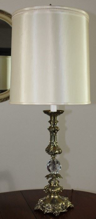 "Vintage brass lamp with optic cut glass sphere in center 40"" H"