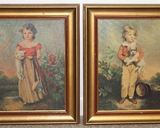 "Vintage Gold Framed prints; ""Chums"" by Jane Freeman and Master Simpson ""Friends"" by Arthur Devis 10"" x 12"""