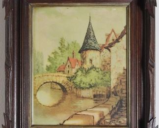 "Antique Adirondack Walnut Framed vintage print (8x10) frame 12"" x 14"" overall"