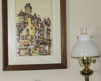 Framed Village Print show with Brass Lamp with Hobnail Milk Glass Shade