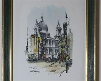 Saint Paul's Cathedral London Print by Jan Korthals 1965 printed by Donald Art Company