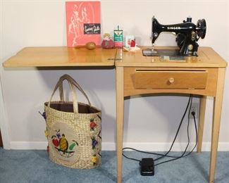 Singer Sewing Machine 99 K 1953 with original blonde cabinet