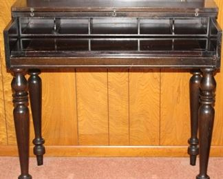 "Antique solid mahogany spinet writing desk (shown open) (34"" W x 19""D x 31""H)"