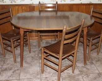 "Vintage maple Formica topped round table with Leaf 42"" x 52"" shown with ladder back slat bottom chairs 4 each"
