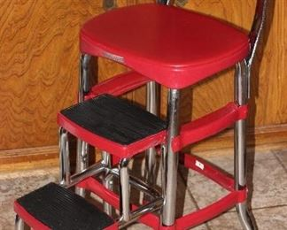 Cosco Chrome and Red Kitchen Step Stool