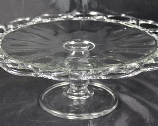 "Imperial Glass Company open laced edge cake stand 12 1/2"" diameter x 4 1/2"" H"