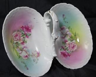 "Antique porcelain center handle oval divided ""roses"" serving dish (8"" x 11"")"