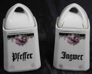 "Antique Germany Porcelain Spice Jars:  Pfeffer ""Pepper"" and Ingwer ""Ginger"""