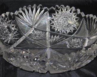 "American brilliant cut crystal Bowl 9"" Diameter x 2 1/4"" H"
