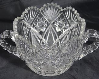 "American brilliant cut crystal double handled bowl 5"" H x 6 1/2"" bowl diameter, overall 10"" W"