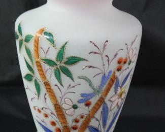 "Victorian Bristol Blown Art Glass Hand Painted enameled Vase 13"" H x 6"" diameter"