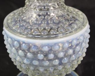 "Moon glow Hobnailed Covered Candy Dish. 7"" H x 5"" diameter"