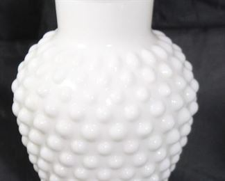 "Hobnail milk glass vase 5""H"