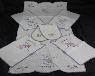 Hand Embroidery 8 piece set:  Pair Standard Pillow Cases (not shown), Dresser Scarf/Runner, 3pc Vanity Set, and 2pc Night Stand Doilies.