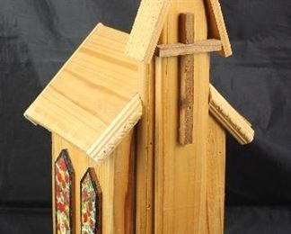 "Large wooden Birdhouse Church (21""H x 10"" x 7"")"