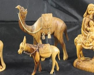 Wood carved 3 piece Holy Family with Camel and Donkey Shown with Ball Manger Scene Ornamnet
