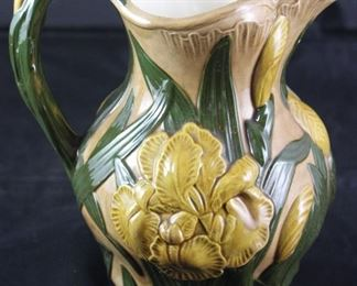 Ceramic Yellow Iris Pitcher